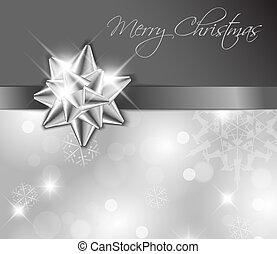 -, zilver, kaart, boog, kerstmis, lint