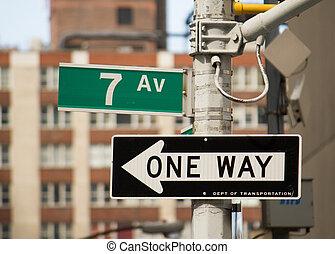 -, znak, ulica,  York, 7, nowy, Aleja,  Manhattan