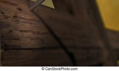 -, zoom, clous, bois, croix, appareil photo, moule, fin, ...