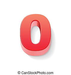 0, 光沢がある, 数, 赤, 3d