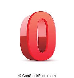 0, brilhante, número, vermelho, 3d