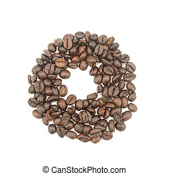 0 number made with coffee beans on a white background