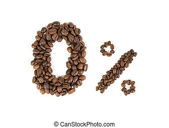 0% of caffeine. Non caffeinated coffee beans sign. White backgro