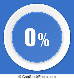 0 percent blue flat design modern web icon