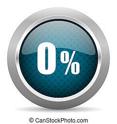 0 percent blue silver chrome border icon on white background