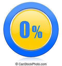 0 percent blue yellow icon sale sign