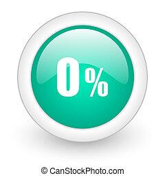 0 percent round glossy web icon on white background