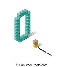 0 - Pixel Isometric Alphabet - Numbers