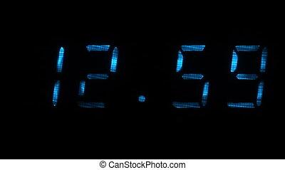 00, 12, 59, zegar, czas, 13, godzinki, cyfrowy, minuty, widać