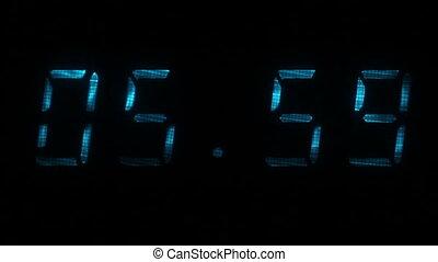 00, 59, zegar, 05, godzinki, czas, cyfrowy, 06, minuty, widać