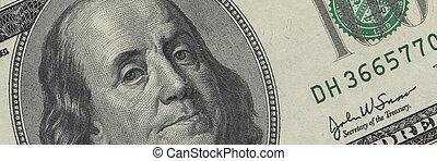 00, usd, billet dollar, -, espèces, américain, franklin,...
