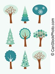 00025 Modern Winter Trees Icons Illustrations 1.eps