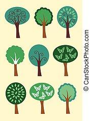 00027 Modern Summer Trees Icons Illustrations 1.eps