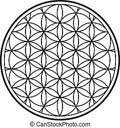 00031 Spiritual Flower of Life Black and White Illustration 1.eps