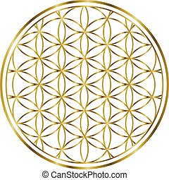 00032 Spiritual Flower of Life Gold Illustration 1 - ...