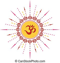 00034 Radiating Red Spiritual Om Illustration 1.eps -...