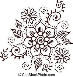00036 Brown Henna Flower Pattern Spiritual Illustration 1.eps