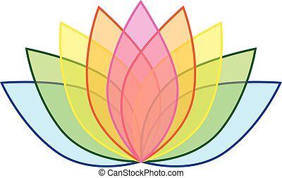 00038 Rainbow Lotus Flower Icon Logo on White Background Illustration 1.eps