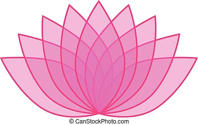 00039 Pink Transparent Lotus Flower Icon Logo on White Background Illustration 1.eps