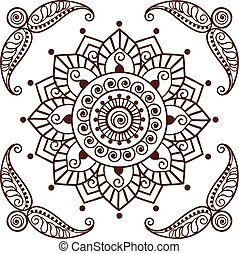 00043 Brown Henna Flower Pattern Spiritual Illustration 2.eps