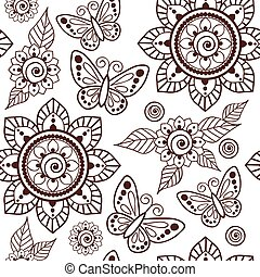 00046 Brown Henna Flowers and Butterflies Repeating Pattern Illustration 1.eps