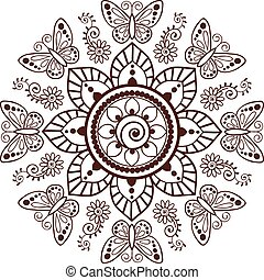 00048 Brown Henna Flowers and Butterflies Pattern Illustration 1.eps