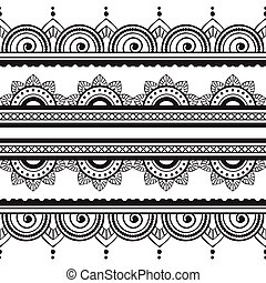 00051 Seamless Henna Borders Vector Set Abstract Floral Patterns 2.eps