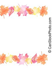 00077 Bright Watercolor Fall Autumn Leaves Vector Background 2.eps