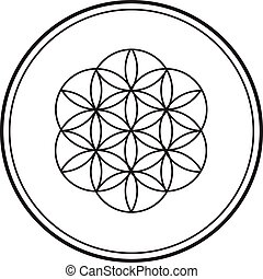 00081 Simple Spiritual Flower of Life Black and White Illustration 2.eps