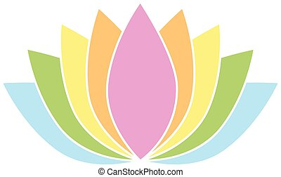 00082 Colorful Lotus Flower Icon Logo on White Background Illustration 1.eps