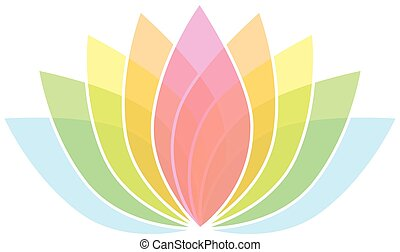 00083 Colorful Lotus Flower Icon Logo on White Background Illustration 2.eps