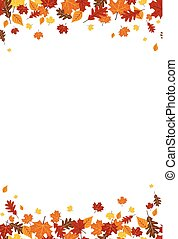 00093 Seamless Bright Fall Autumn Leaves Vertical Border...