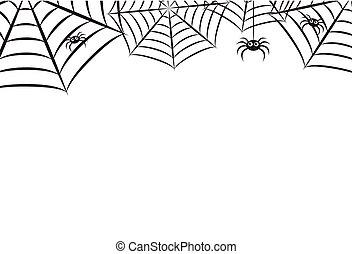 00136, tela, horizontal, araña, halloween, 1, plano de fondo...