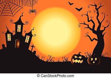 00142 Halloween Spooky Nighttime Scene Horizontal Background...
