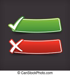 002 Set of green and red check mark symbol and blank banner with copy space vector illustration eps 10