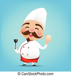 003 Chinese chef cartoon holding the Turner and thumb up with happy smile vector illustration eps10