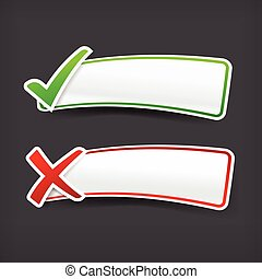 003 Set of green and red check mark symbol and blank banner with copy space vector illustration eps 10