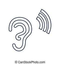 00370 - Human anatomy. Ear sign with soundwave. Vector. Flat...