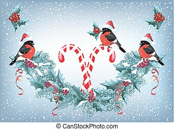 Christmas card with christmas garland and bullfinches in Santa hat in retro style