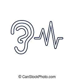 00690 - Ear hearing sound sign. Vector. Flat style black...