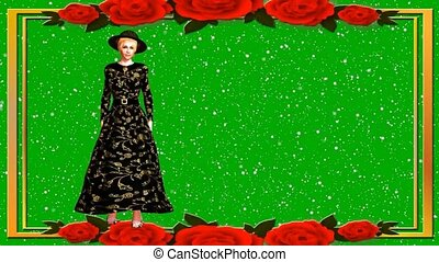 01 3D animated fashion model on green background walking