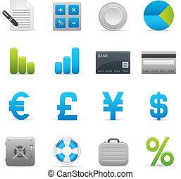01, añil, finanzas, iconos, serie, |
