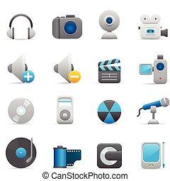 01, añil, iconos, multimedia, serie, |