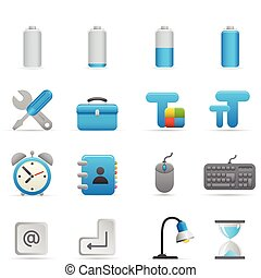 01, añil, iconos, serie, computadora, |