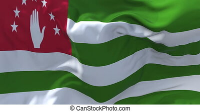 01. Abkhazia Flag Waving in Wind Continuous Seamless Loop Background.