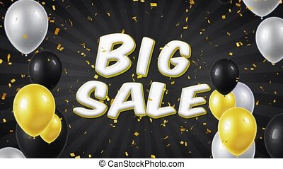 01. Big Sale Text with Balloons, Confetti Looped Motion