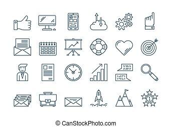 01, conjunto, contorno, iconos del negocio