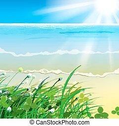 01, gras, meer, paradies