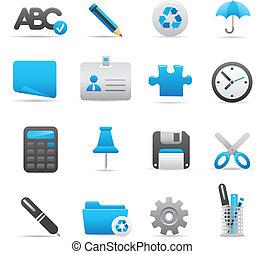 01, indigo, icônes bureau, série, |