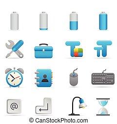 01, indigo, icônes, série, informatique, |